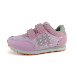 Deportiva Mustang rosa M gris velcro