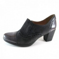 Zapato tacón ante y charol gris Lince by Gianny Zenna