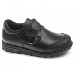 Zapatos colegiales Pablosky con 1 velcro y puentera reforzada piel negro